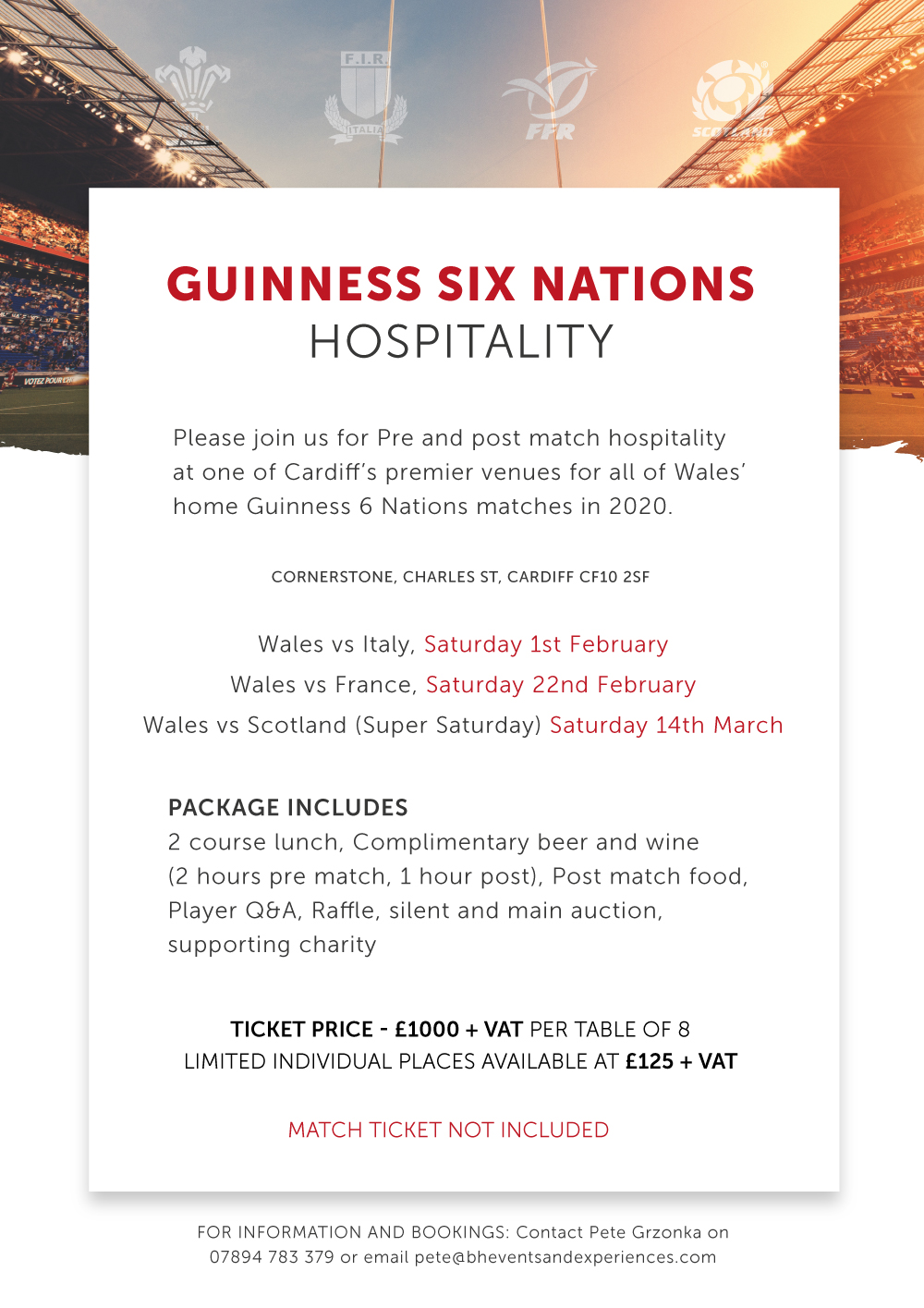 Guinness Six Nations Hospitality